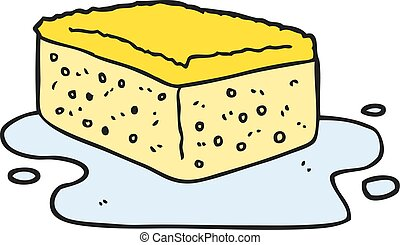 cartoon sponge - freehand drawn cartoon sponge