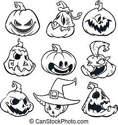 Cartoon spooky Jack O' Lantern pumpkins set outlined. ...