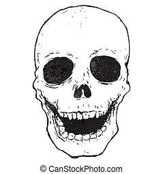 cartoon spooky skull drawing