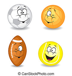 Cartoon sport balls. Vector collection. Isolated on white background.