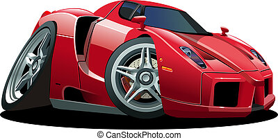 Cartoon sport car isolated on white background. Available EPS-10 vector format separated by groups and layers for easy edit