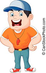 Cartoon sport coach yelling - Vector illustration of Cartoon...