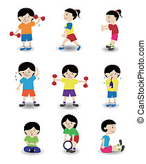 cartoon sport people icon set