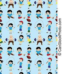 cartoon sport people seamless pattern