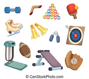 cartoon Sports Equipment icons