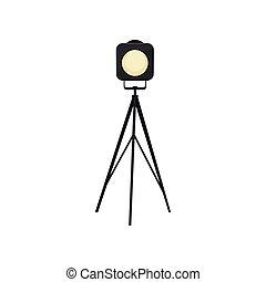 Cartoon spotlight on white background. Vector illustration.