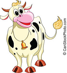 Cartoon smiling spotted cow on a white background