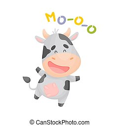 Cartoon spotted cow. Vector illustration on a white background.