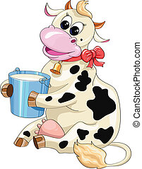 funny cartoon spotted cow with a bucket of milk on a white background