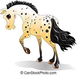 Cartoon spotted horse in motion on a white background