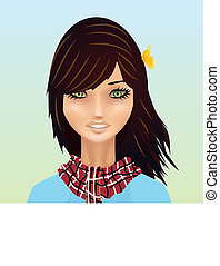 Cartoon Spring Girl with Butterfly Vector Illustration