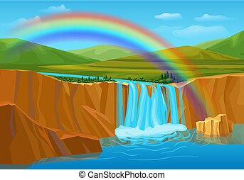 Cartoon Spring Nature Landscape Template
