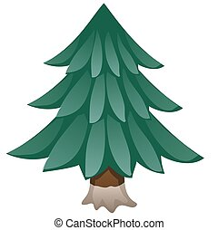 Cartoon spruce isolated on white background. Vector close-up illustration.
