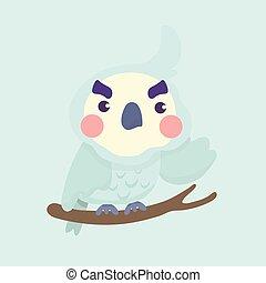 cartoon., sprytny, ptak, papuga