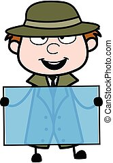Cartoon Spy holding a glass banner