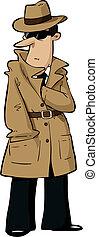 Cartoon Spy - Spy hides his hand in his bosom vector...