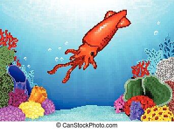 Cartoon squid - Vector illustration of Cartoon squid with...