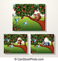 Cartoon squirrel and racoon on the apple tree collections