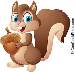Cartoon squirrel holding acorn - Vector illustration of...