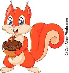 Cartoon squirrel holding pinecone - Vector illustration of...