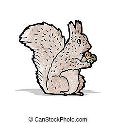 cartoon squirrel nibbling nut