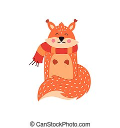 Cartoon squirrel on a white background, vector illustration