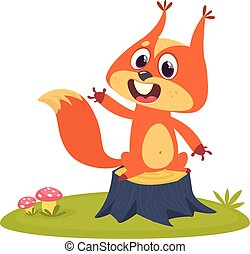 Cartoon squirrel on tree stump in summer season background