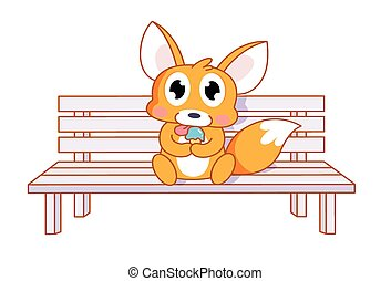 cartoon squirrel sitting on a chair