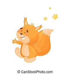 Cartoon squirrel. Vector illustration on a white background.