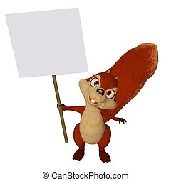 cartoon squirrel with a blank sign