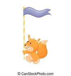 Cartoon squirrel with a flag. Vector illustration on a white background.
