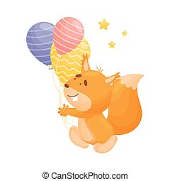 Cartoon squirrel with balloons. Vector illustration on a white background.