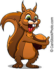 Cartoon squirrel with nut - Cartoon squirrel mascot with nut...