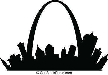 Cartoon St. Louis - Cartoon skyline silhouette of the city...