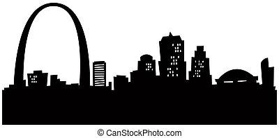 Cartoon St. Louis Skyline - Cartoon silhouette of the ...
