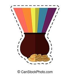 cartoon st patricks day cauldron rainbow with coins