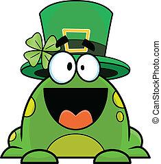 Cartoon St. Patricks Day Frog - Cute cartoon frog ready for...