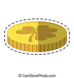 cartoon st patricks day golden coin treasure with clover
