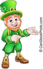 Cartoon St Patricks Day Leprechaun Pointing - Leprechaun St...