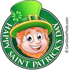 Cartoon St Patricks Day Leprechaun Sign - Cartoon Leprechaun...