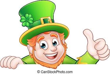 Cartoon St Patricks Day Leprechaun Top of Sign - Cartoon...