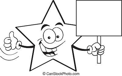 Cartoon Star Holding a Sign (Black