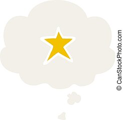 cartoon star symbol and thought bubble in retro style