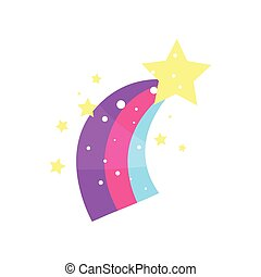 Cartoon star with rainbow tail vector Illustration