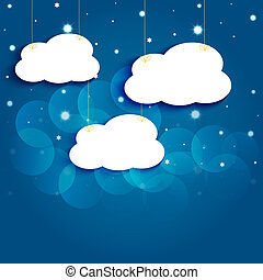 Cartoon stars and clouds in the night sky. Vector EPS10. - ...