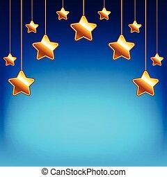 Cartoon stars on blue sky vector background