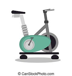 cartoon stationary bicycle sport elements design