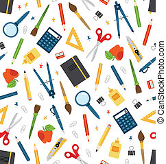 Cartoon stationery vector seamless pattern