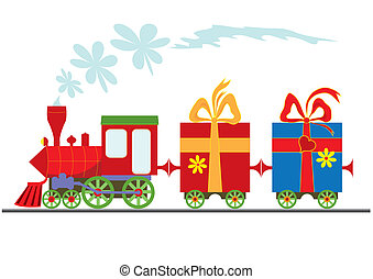 cartoon steam locomotive with gift boxes