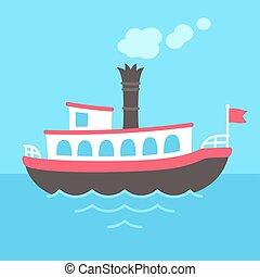 Cartoon steamboat ship - Cute cartoon retro riverboat...